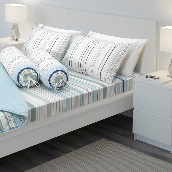 BLÅRIPS 6-piece bedlinen set, blue, Queen