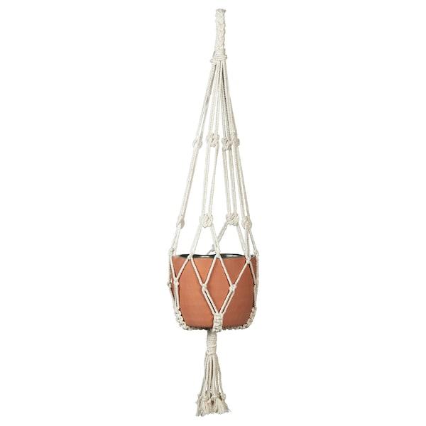 BOTANISK Plant pot hanger, beige handmade