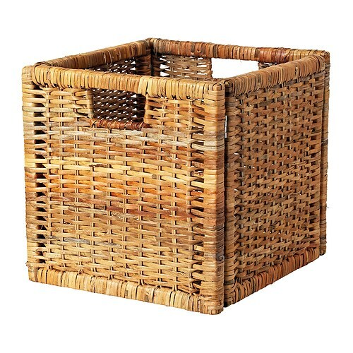 BRANÄS Basket IKEA Perfect for newspapers, photos or other memorabilia.  Easy to pull out and lift as the basket has handles.