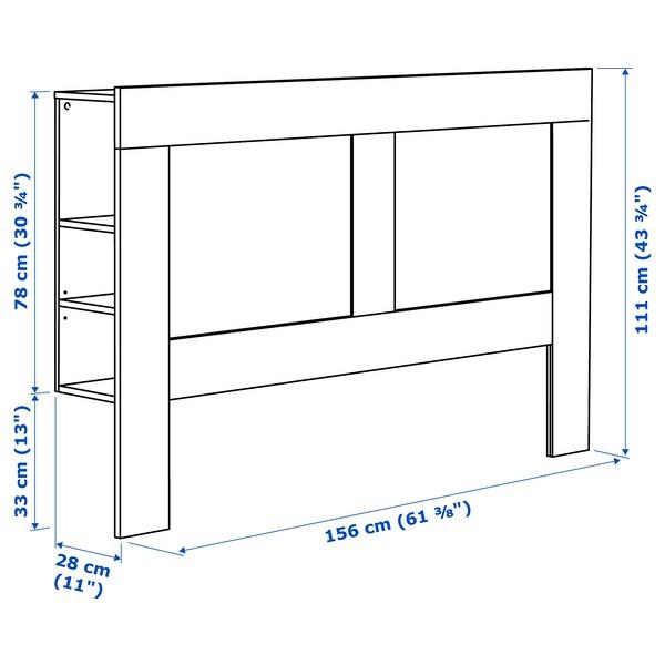 BRIMNES headboard with storage compartment white 156 cm 28 cm 111 cm 150 cm