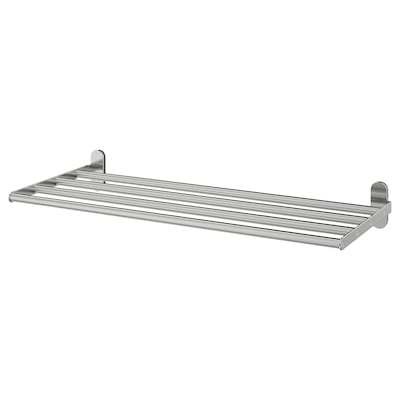 BROGRUND Wall shelf with towel rail, stainless steel, 67x27 cm