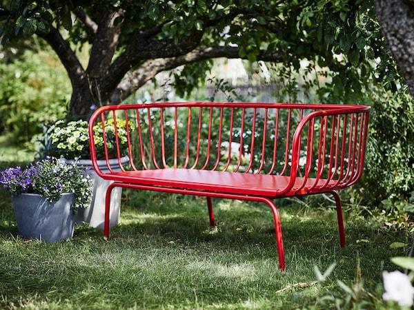 BRUSEN 3-seat sofa, outdoor, red