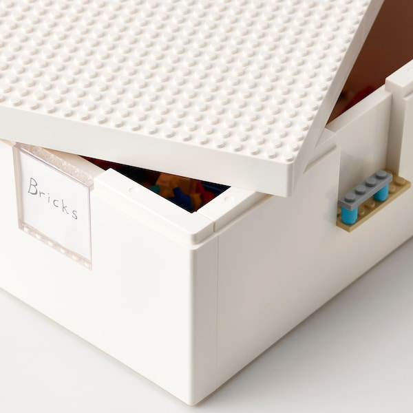 BYGGLEK LEGO® box with lid, white, 26x18x12 cm