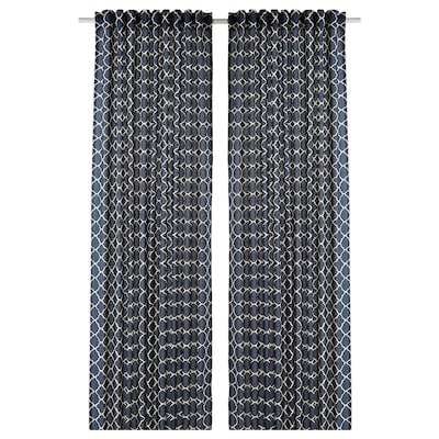 CITRUSTRÄD Curtains, 1 pair, blue/white, 145x250 cm