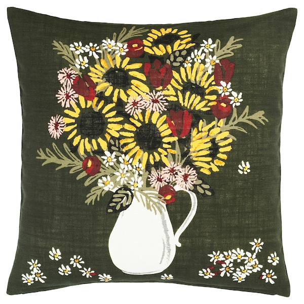 DEKORERA Cushion cover, dark green flowers and leaves, 50x50 cm