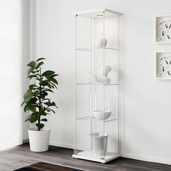 DETOLF Glass-door cabinet, white, 43x163 cm