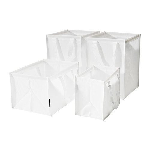 DIMPA Waste sorting bag, set of 4 IKEA With handle on either side making it easy to carry.  Made of plastic; durable, wipe-clean quality.