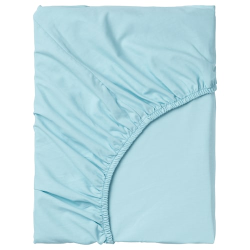 DVALA fitted sheet light blue 152 /inch² 200 cm 180 cm