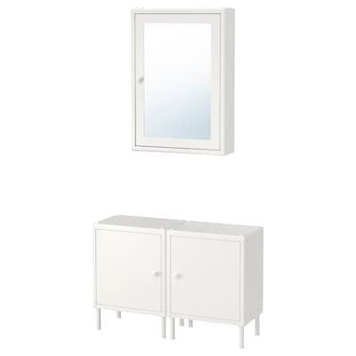 DYNAN Mirror cabinet with 2 base cabinets, white, 80x27 cm