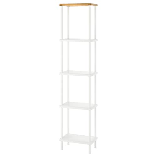 DYNAN shelf unit white/bamboo pattern 40 cm 27 cm 176 cm
