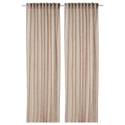 DYTÅG Curtains, 1 pair, beige, 145x250 cm