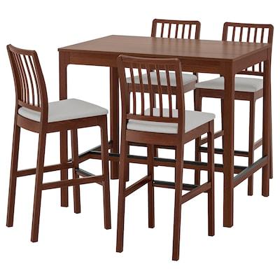 EKEDALEN / EKEDALEN Bar table and 4 bar stools, brown/Orrsta light grey, 120 cm