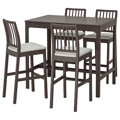 EKEDALEN Bar table and 4 bar stools, dark brown/Orrsta light grey