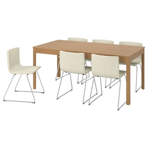 EKEDALEN / BERNHARD table and 6 chairs oak/Mjuk white 180 cm 240 cm