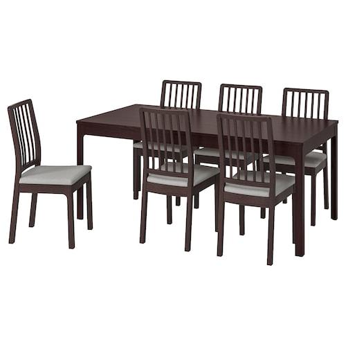 EKEDALEN / EKEDALEN table and 6 chairs dark brown/Orrsta light grey 180 cm 240 cm