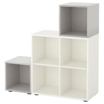 EKET Cabinet combination with feet, white/light grey, 105x35x107 cm