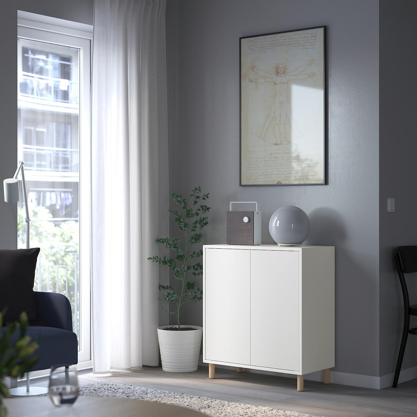EKET Cabinet w 2 doors and 2 shelves, white, 70x25x70 cm