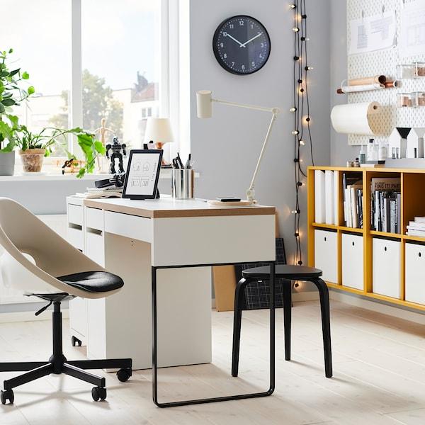 ELDBERGET / MALSKÄR Swivel chair, beige/black