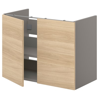 ENHET Bs cb f wb w shlf/doors, grey/oak effect, 80x42x60 cm