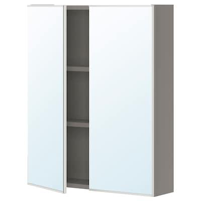 ENHET Mirror cabinet with 2 doors, grey, 60x17x75 cm
