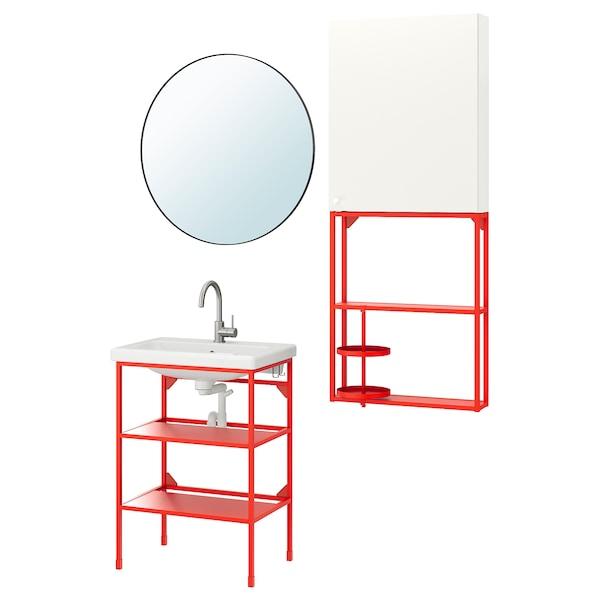 ENHET / TVÄLLEN Bathroom furniture, set of 13, red-orange/white Glypen tap, 64x43x87 cm