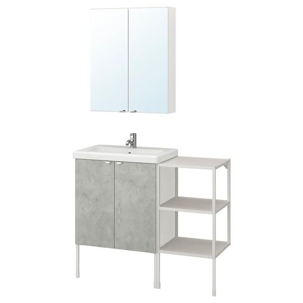 ENHET / TVÄLLEN Bathroom furniture, set of 14, concrete effect/white Pilkån tap, 102x43x87 cm