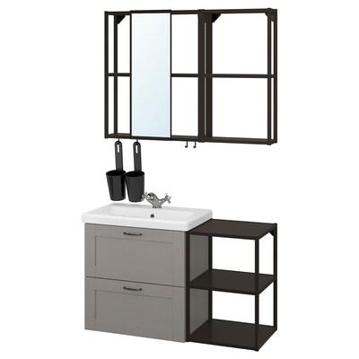 ENHET / TVÄLLEN Bathroom furniture, set of 15, grey frame/anthracite Runskär tap, 102x43x65 cm
