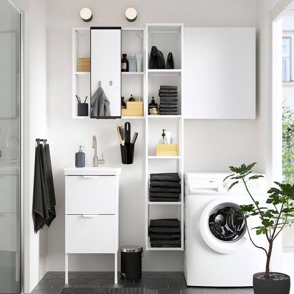 ENHET / TVÄLLEN Bathroom furniture, set of 16, high-gloss white/white Glypen tap, 44x43x87 cm
