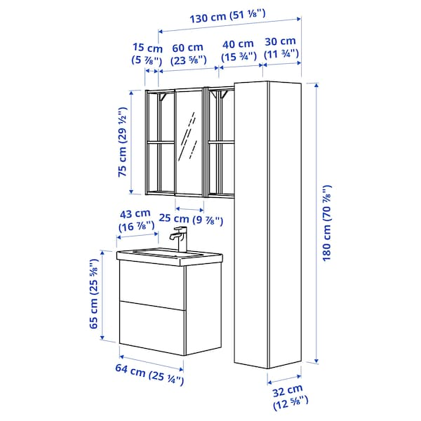 ENHET / TVÄLLEN Bathroom furniture, set of 18, high-gloss white/white Glypen tap, 64x43x65 cm