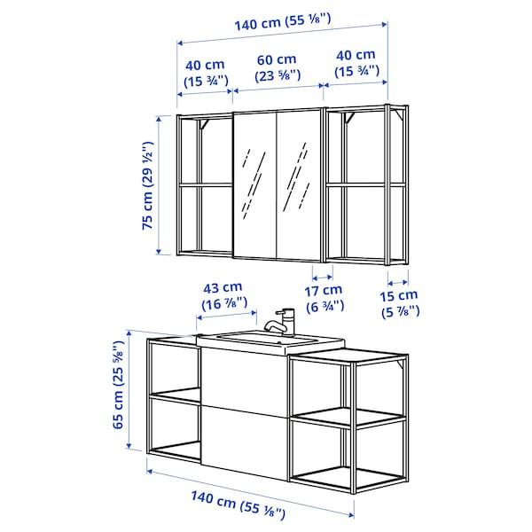 ENHET / TVÄLLEN Bathroom furniture, set of 18, high-gloss white/white Glypen tap, 140x43x65 cm