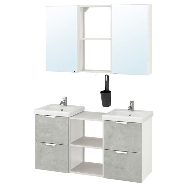 ENHET / TVÄLLEN Bathroom furniture, set of 22, concrete effect/white Pilkån tap, 124x43x65 cm