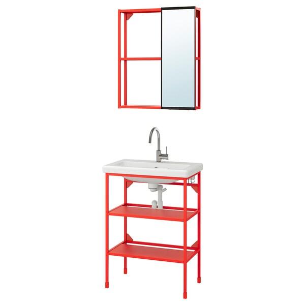 ENHET / TVÄLLEN Bathroom furniture, set of 9, red-orange/Glypen tap, 64x43x87 cm