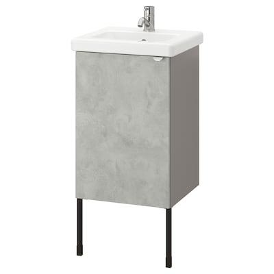 ENHET / TVÄLLEN Wash-basin cabinet with 1 door, concrete effect/grey Pilkån tap, 44x43x87 cm