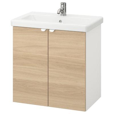 ENHET / TVÄLLEN Wash-basin cabinet with 2 doors, oak effect/white Pilkån tap, 64x43x65 cm
