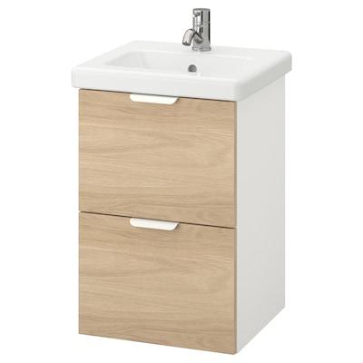 ENHET / TVÄLLEN Wash-stand with 2 drawers, oak effect/white Pilkån tap, 44x43x65 cm
