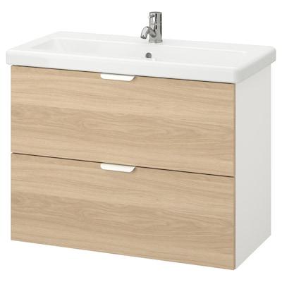 ENHET / TVÄLLEN Wash-stand with 2 drawers, oak effect/white Pilkån tap, 84x43x65 cm