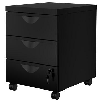 ERIK Drawer unit w 3 drawers on castors, black, 41x57 cm