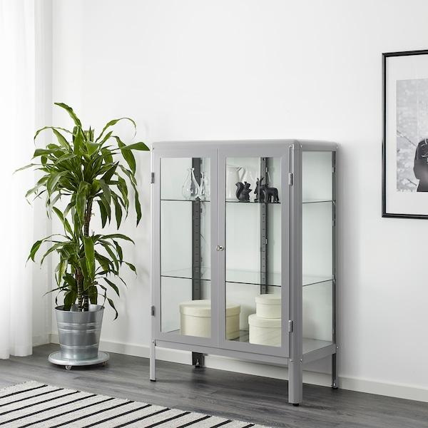 FABRIKÖR Glass-door cabinet - grey - IKEA