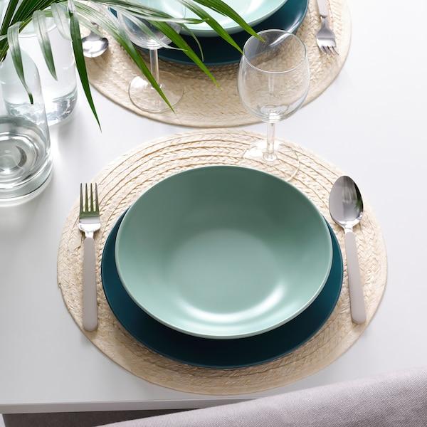 FÄRGKLAR Deep plate, matt light turquoise, 23 cm