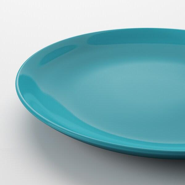 FÄRGRIK Plate, turquoise, 27 cm