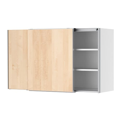 FAKTUM Wall cabinet with sliding doors IKEA Sliding doors; requires less space when open than a standard kitchen door.