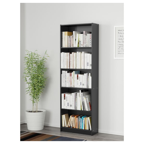 FINNBY Bookcase, black, 60x180 cm