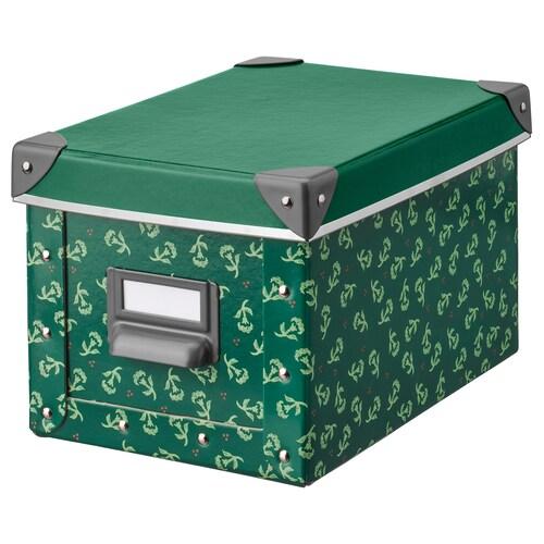 FJÄLLA storage box with lid green/flower patterned 25 cm 19 cm 26 cm 18 cm 15 cm
