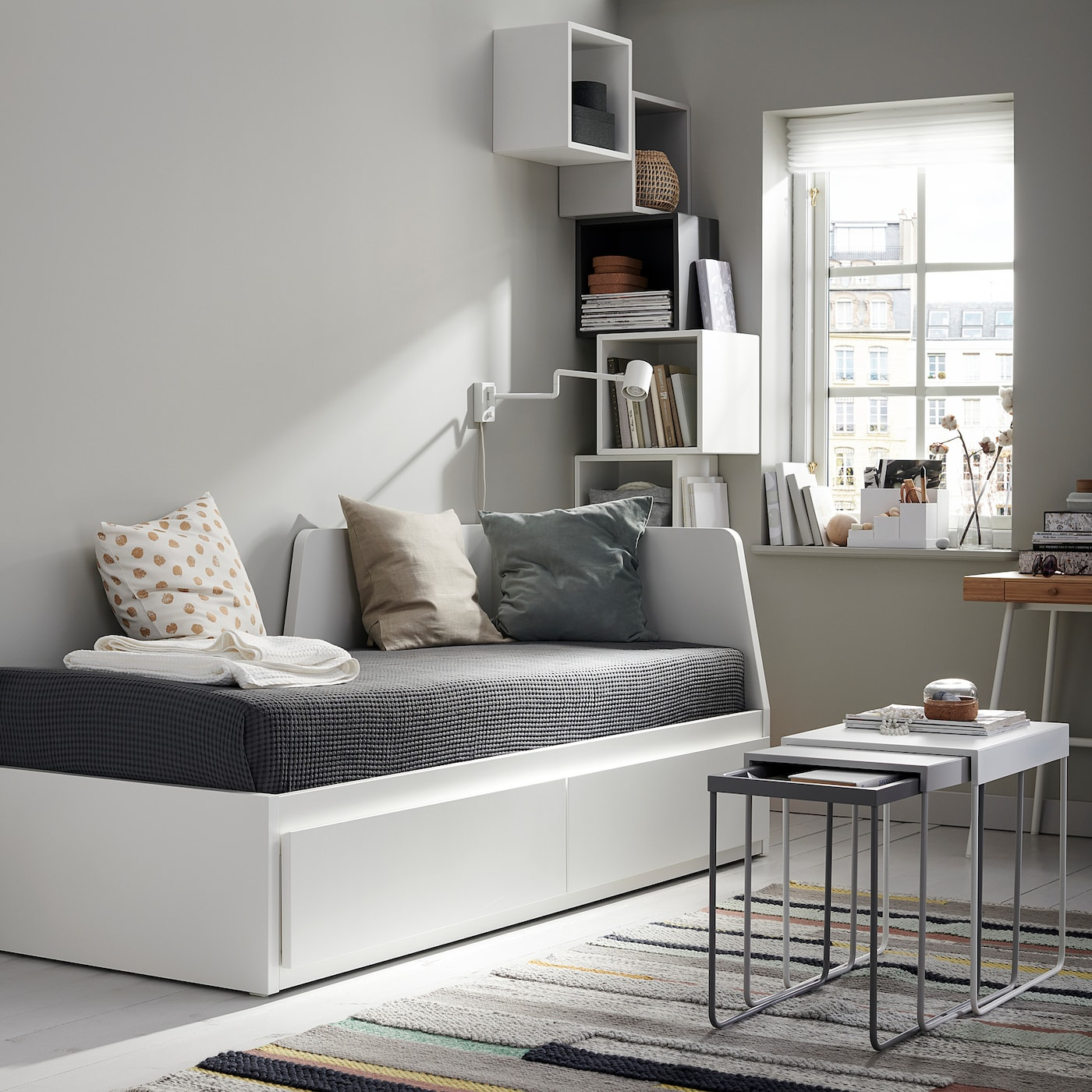 Flekke Day Bed Frame With 2 Drawers White 80x200 Cm Ikea