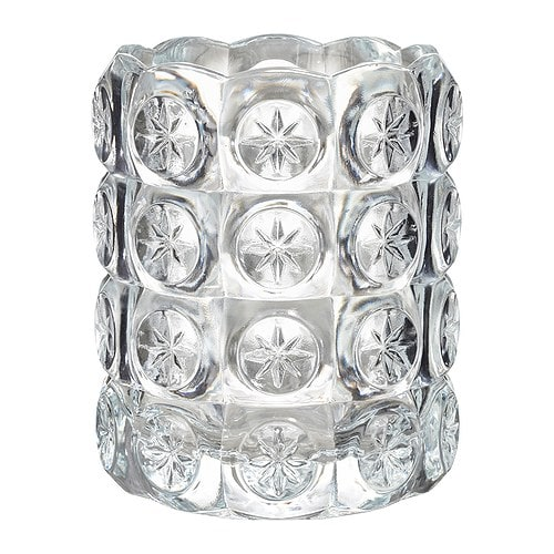 FLEST Tealight holder IKEA The clear glass reflects and enhances the warm glow of the candle-flame.