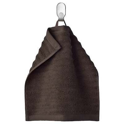 FLODALEN Washcloth, dark brown, 30x30 cm