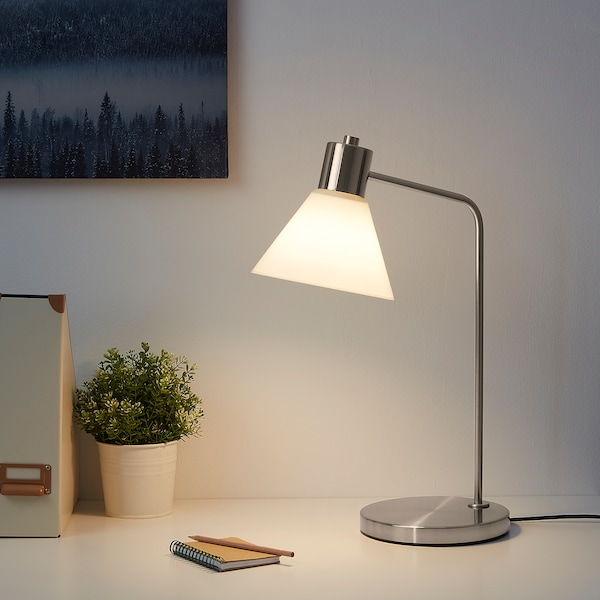 FLUGBO Table lamp, nickel-plated/glass
