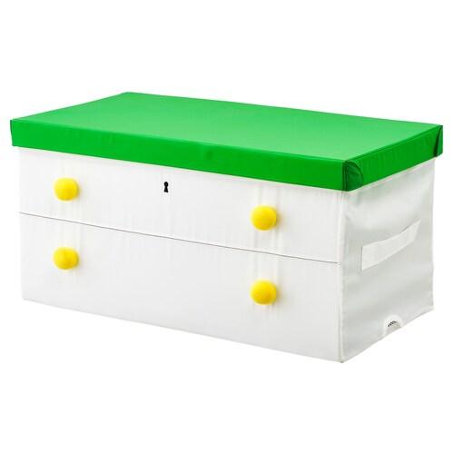 FLYTTBAR box with lid green/white 79 cm 42 cm 41 cm