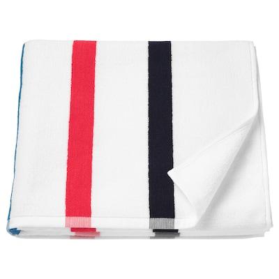 FOSKÅN Bath towel, white/multicolour, 70x140 cm