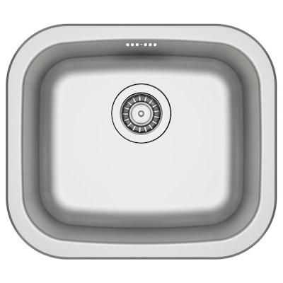 FYNDIG Single-bowl inset sink, stainless steel, 46x40 cm
